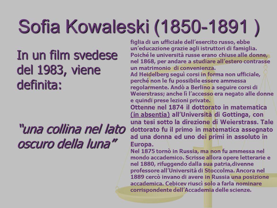 Sofia Kowaleski (1850-1891 ) In un film svedese del 1983, viene