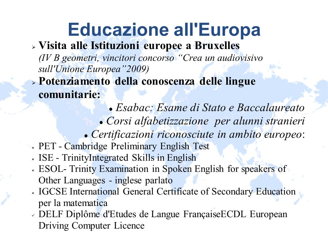 Educazione all Europa