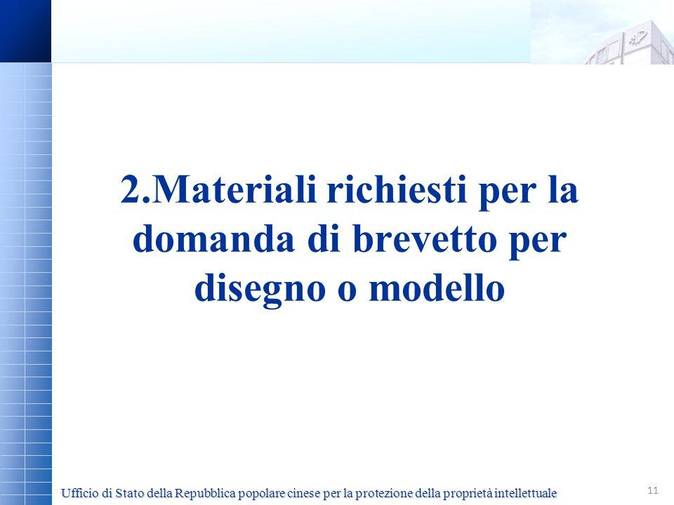 2.Materiali richiesti per la domanda di brevetto per disegno o modello
