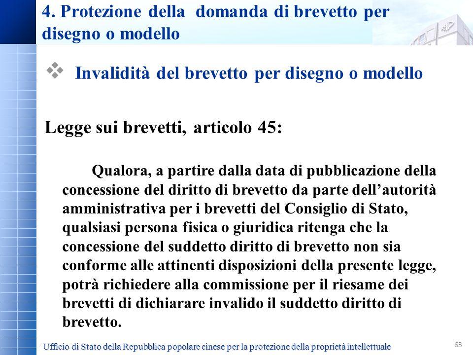 4. Protezione della domanda di brevetto per disegno o modello