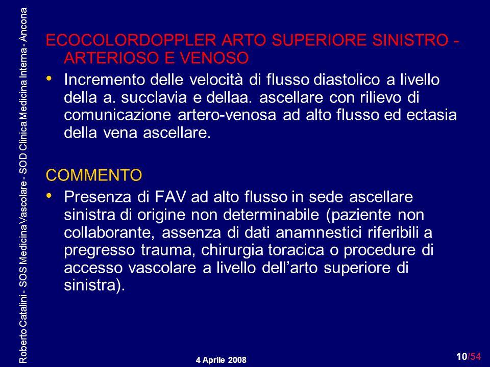 ECOCOLORDOPPLER ARTO SUPERIORE SINISTRO - ARTERIOSO E VENOSO