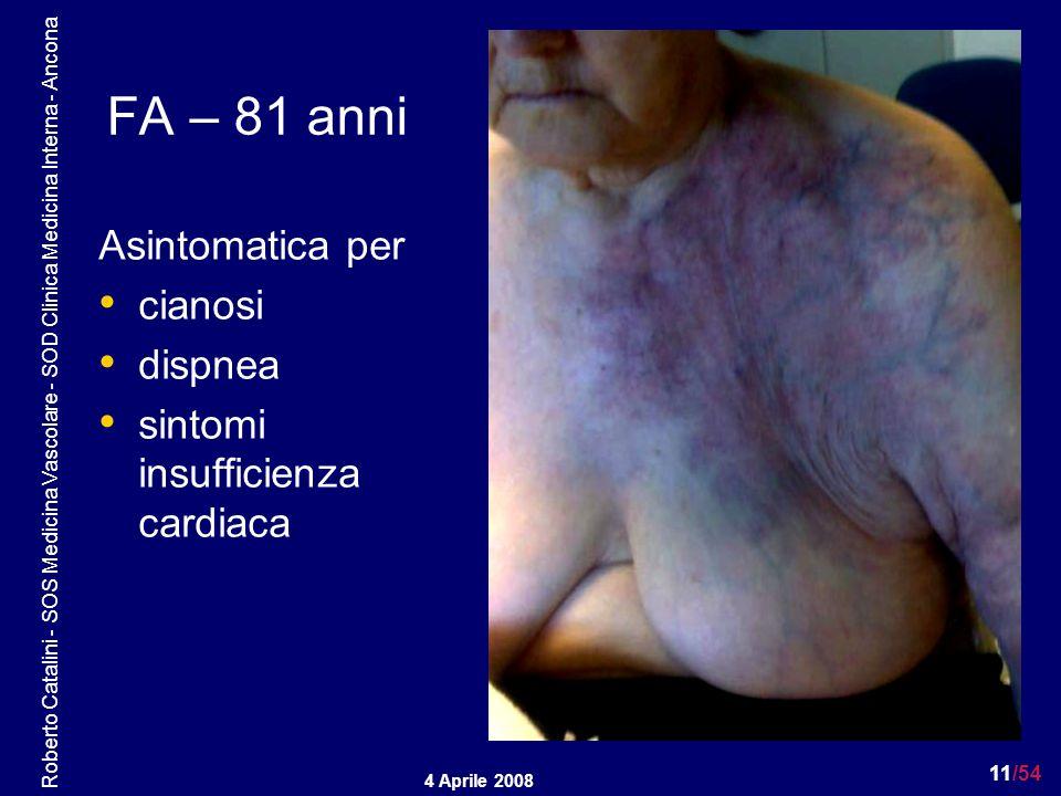 FA – 81 anni Asintomatica per cianosi dispnea