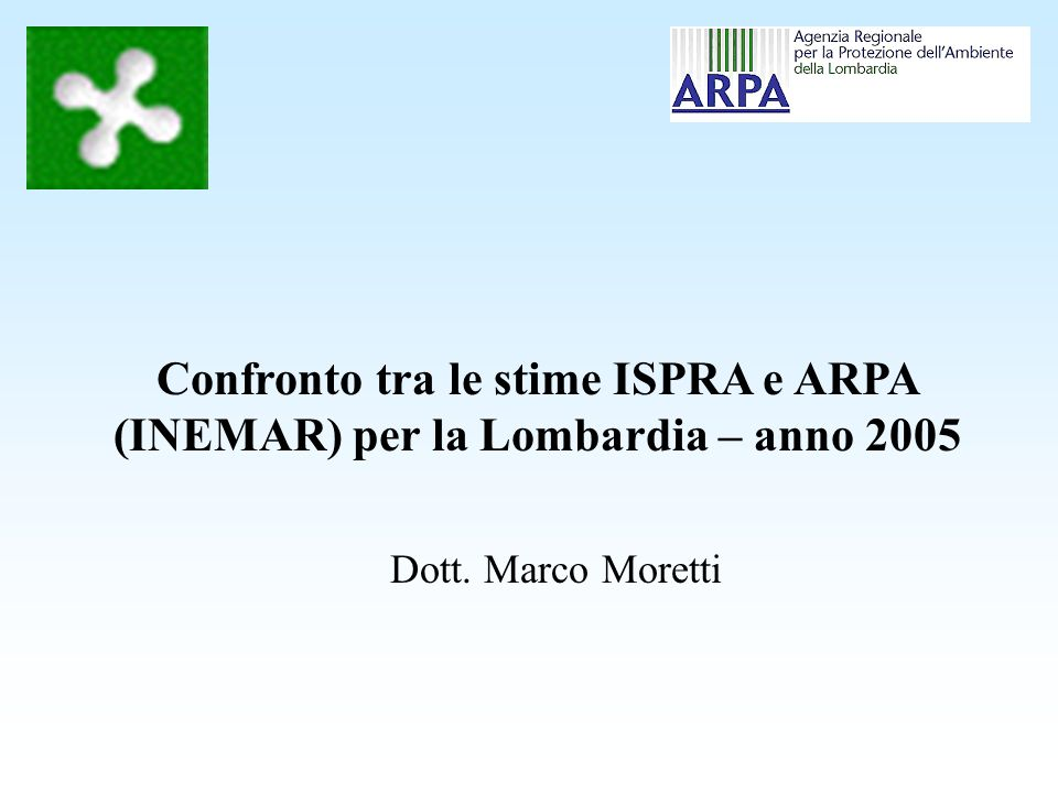 Confronto tra le stime ISPRA e ARPA (INEMAR) per la Lombardia – anno 2005