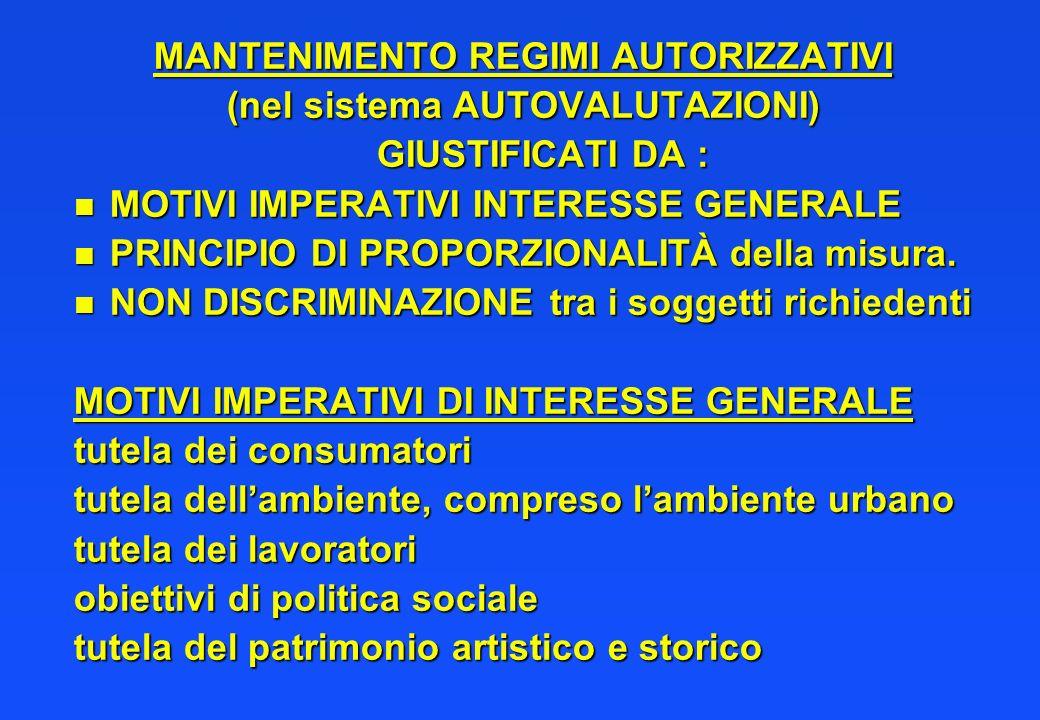 MANTENIMENTO REGIMI AUTORIZZATIVI (nel sistema AUTOVALUTAZIONI)