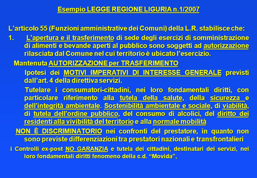 Esempio LEGGE REGIONE LIGURIA n.1/2007
