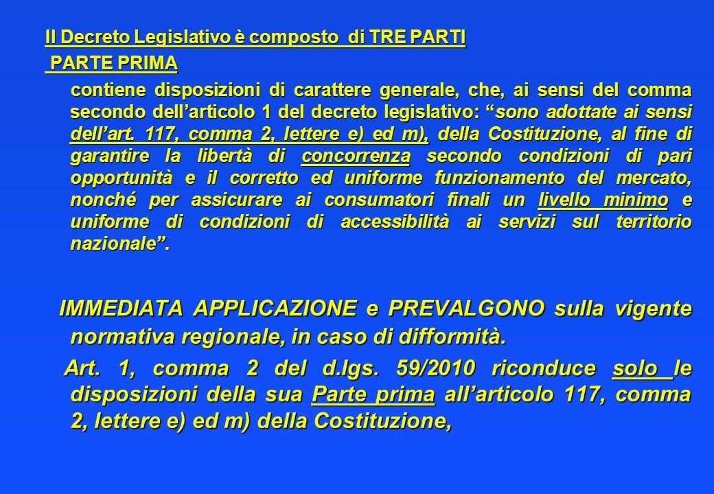 Il Decreto Legislativo è composto di TRE PARTI