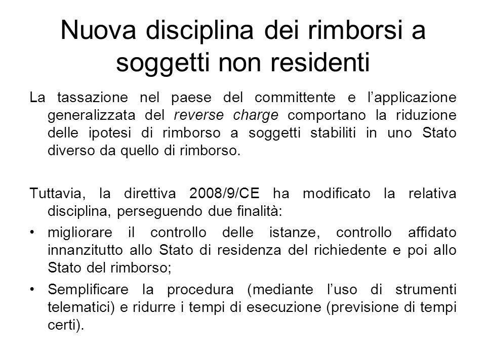 Nuova disciplina dei rimborsi a soggetti non residenti