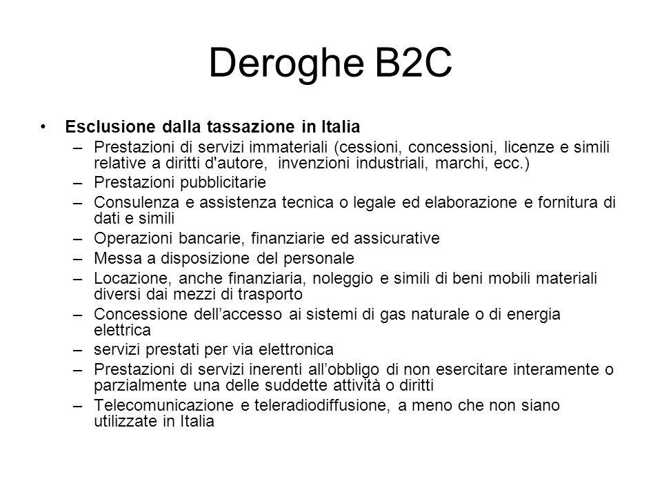 Deroghe B2C Esclusione dalla tassazione in Italia