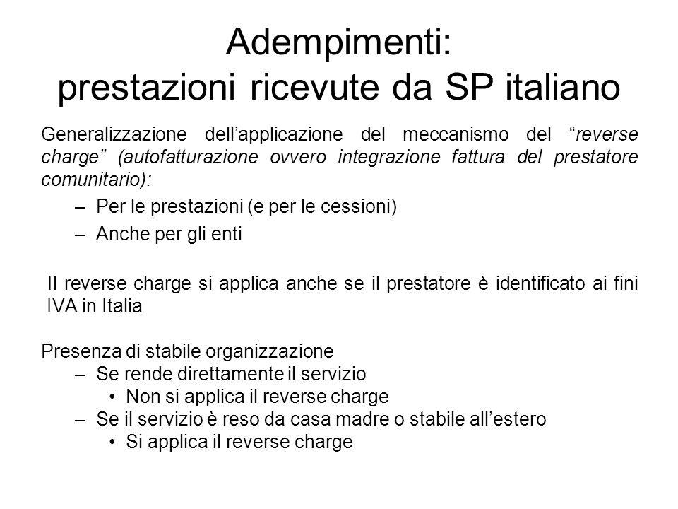 Adempimenti: prestazioni ricevute da SP italiano