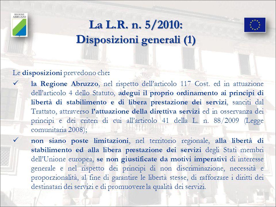 La L.R. n. 5/2010: Disposizioni generali (1)