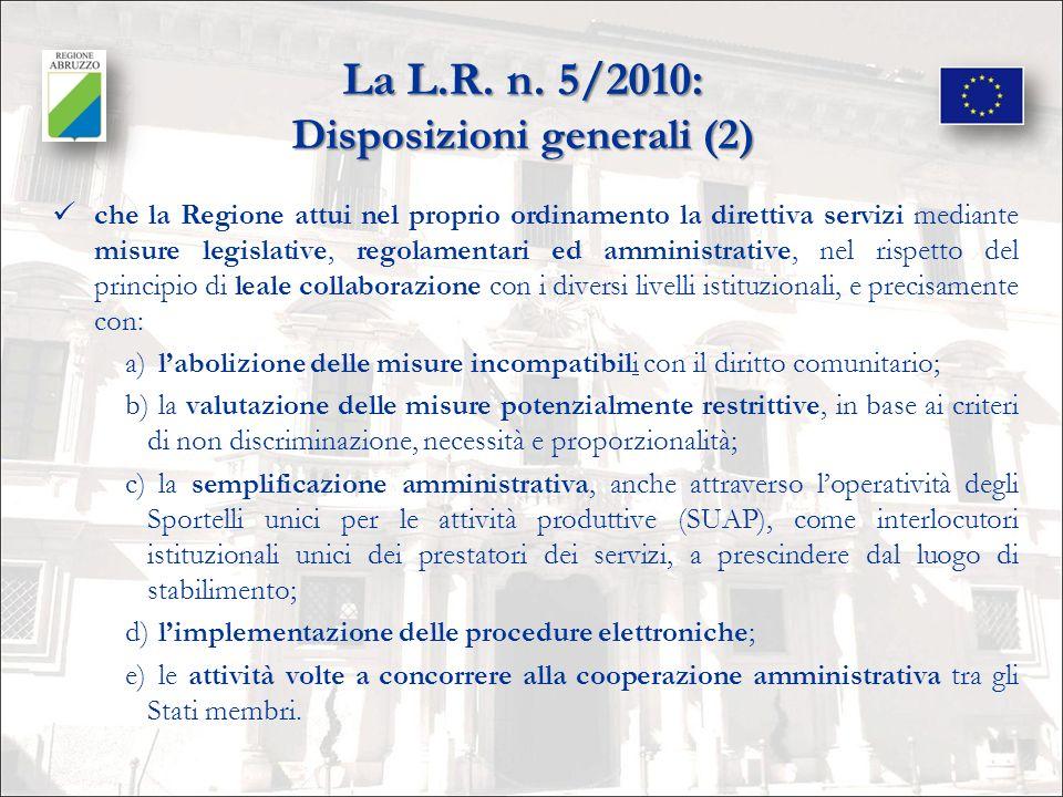 La L.R. n. 5/2010: Disposizioni generali (2)