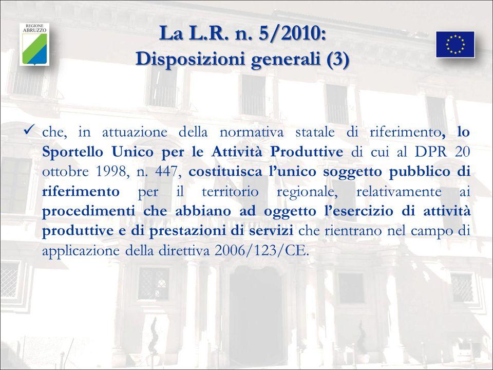 La L.R. n. 5/2010: Disposizioni generali (3)