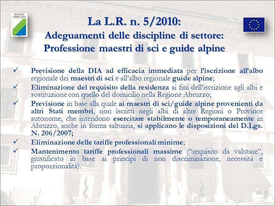 La L.R. n. 5/2010: Adeguamenti delle discipline di settore: Professione maestri di sci e guide alpine
