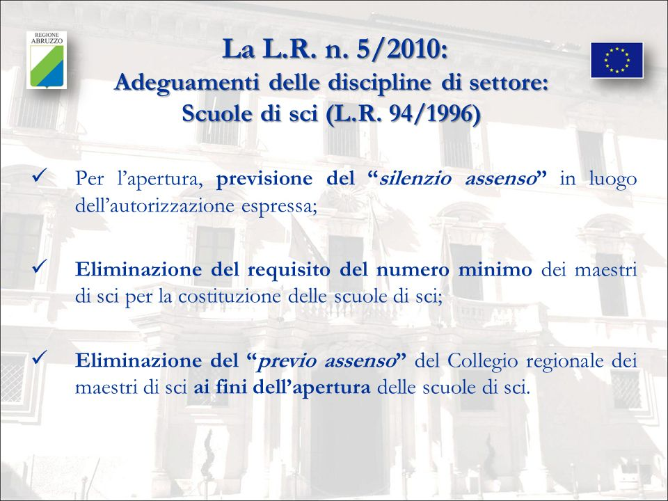 La L.R. n. 5/2010: Adeguamenti delle discipline di settore: Scuole di sci (L.R. 94/1996)