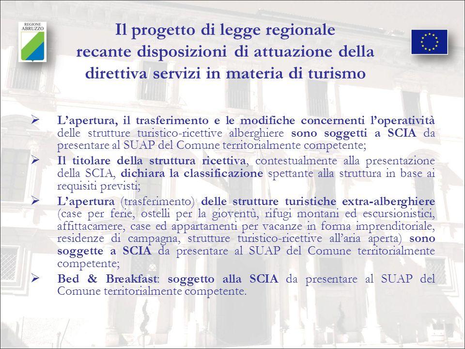 Il progetto di legge regionale recante disposizioni di attuazione della direttiva servizi in materia di turismo