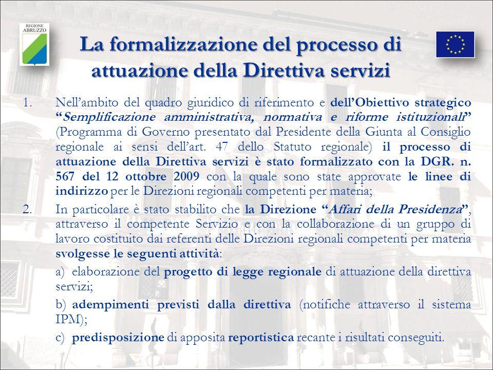 La formalizzazione del processo di attuazione della Direttiva servizi