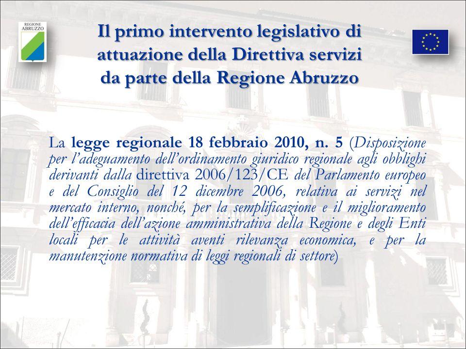 Il primo intervento legislativo di attuazione della Direttiva servizi da parte della Regione Abruzzo