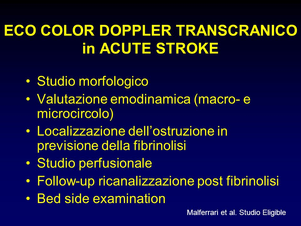 ECO COLOR DOPPLER TRANSCRANICO in ACUTE STROKE