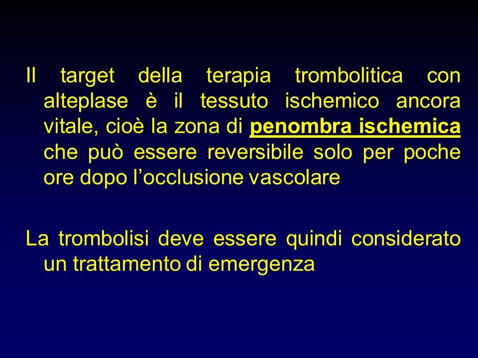 Il target della terapia trombolitica con alteplase è il tessuto ischemico ancora vitale, cioè la zona di penombra ischemica che può essere reversibile solo per poche ore dopo l'occlusione vascolare.