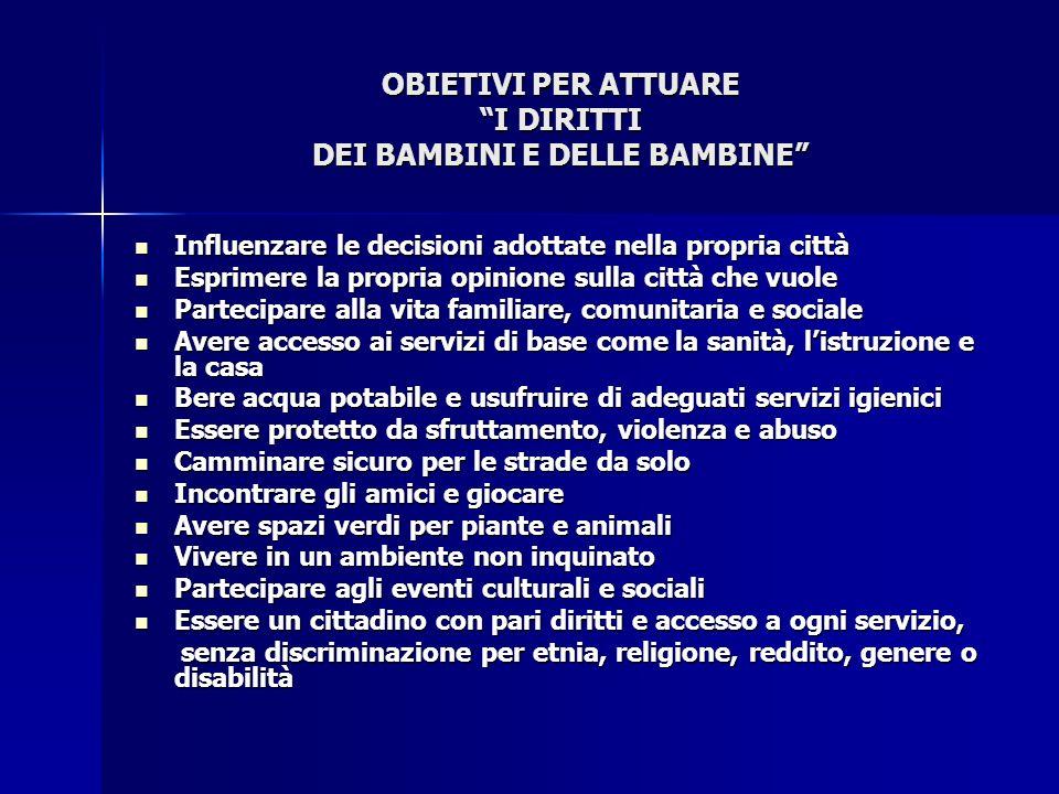 OBIETIVI PER ATTUARE I DIRITTI DEI BAMBINI E DELLE BAMBINE
