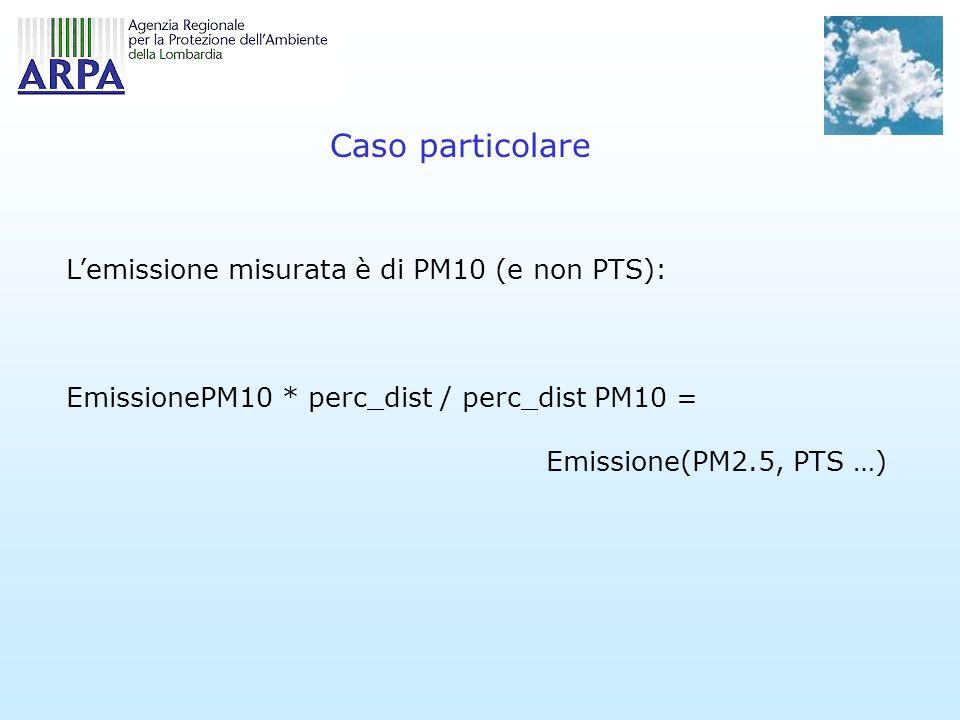 Caso particolare L'emissione misurata è di PM10 (e non PTS):