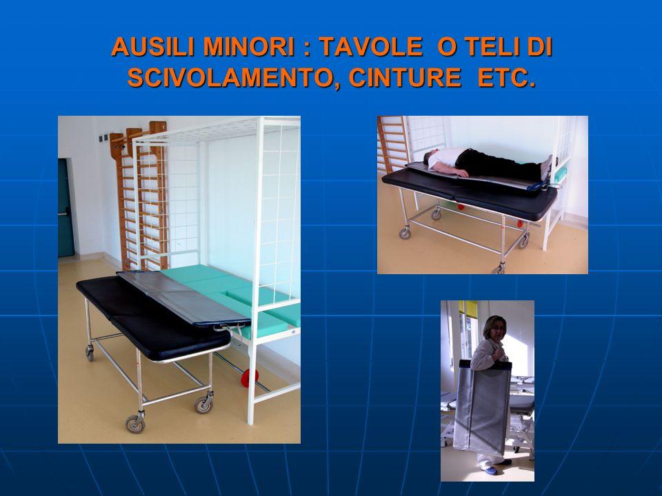 AUSILI MINORI : TAVOLE O TELI DI SCIVOLAMENTO, CINTURE ETC.