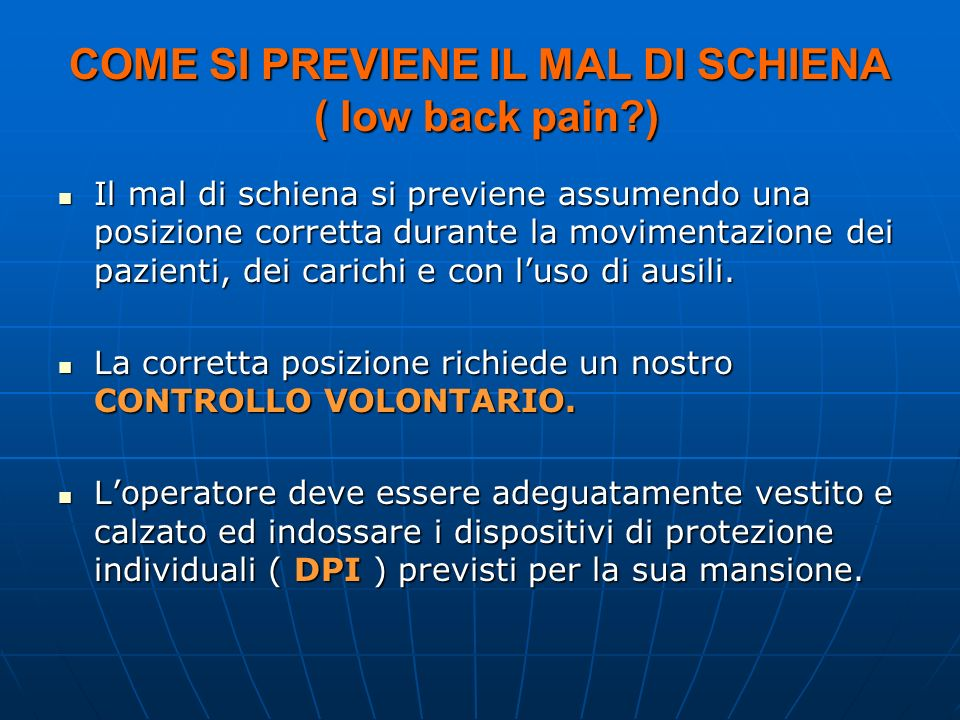 COME SI PREVIENE IL MAL DI SCHIENA ( low back pain )