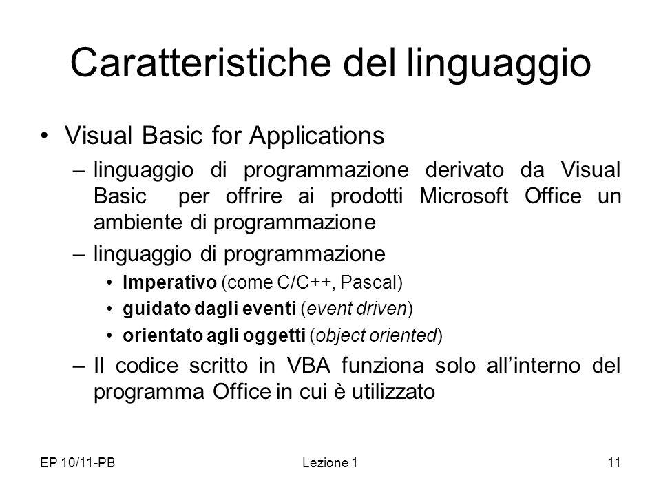Caratteristiche del linguaggio