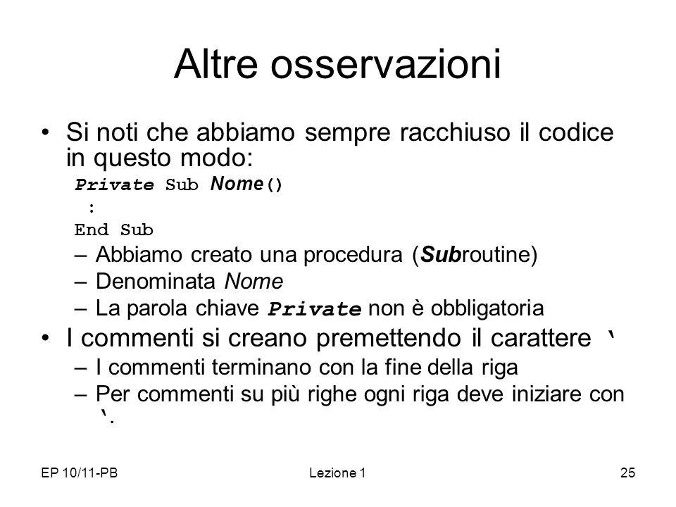 Altre osservazioni Si noti che abbiamo sempre racchiuso il codice in questo modo: Private Sub Nome()