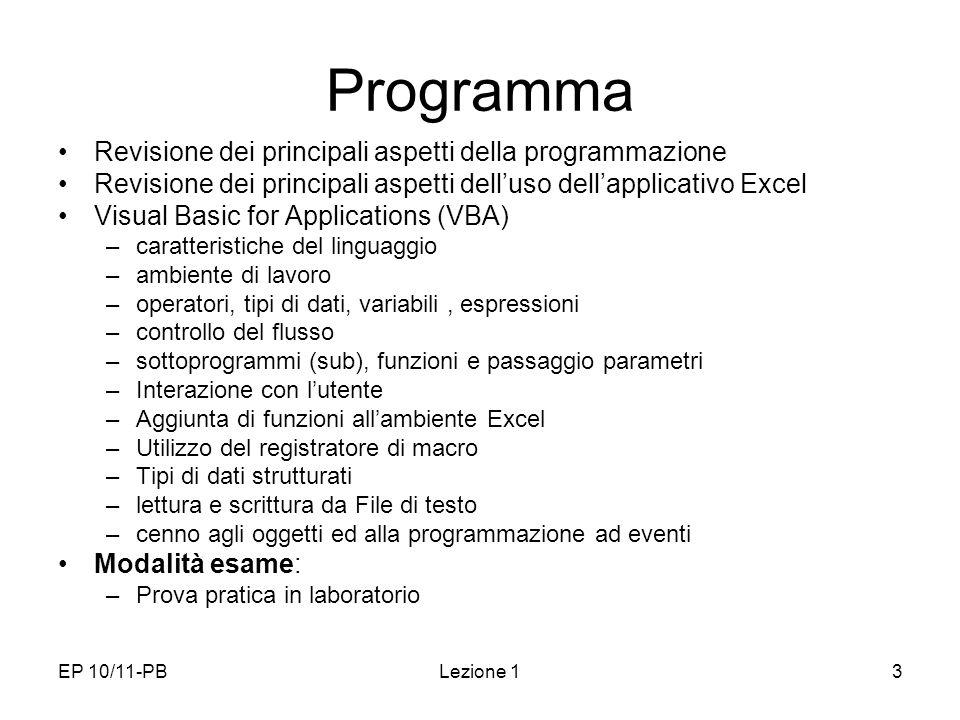 Programma Revisione dei principali aspetti della programmazione