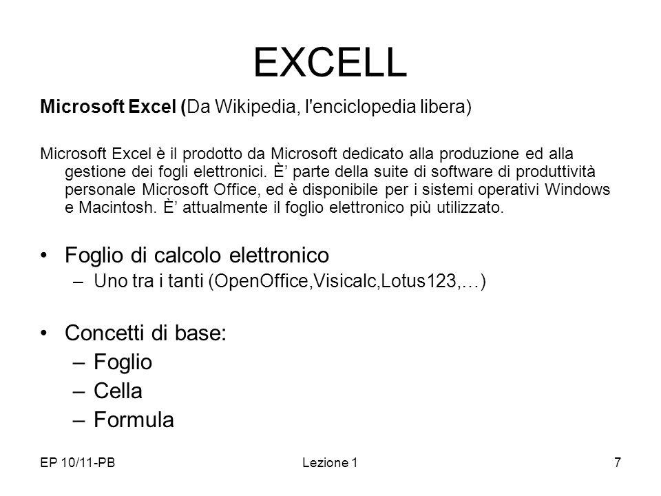 EXCELL Foglio di calcolo elettronico Concetti di base: Foglio Cella
