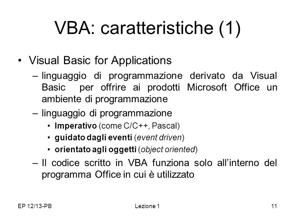 VBA: caratteristiche (1)