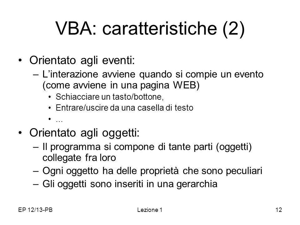 VBA: caratteristiche (2)