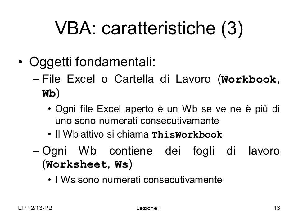 VBA: caratteristiche (3)