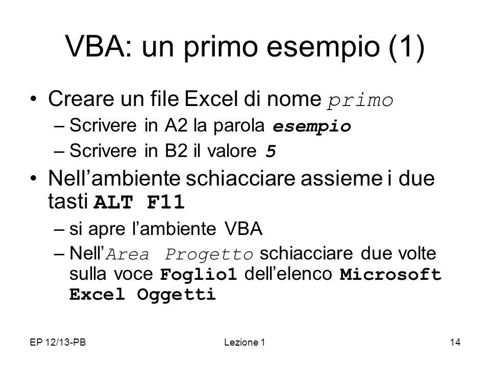 VBA: un primo esempio (1)
