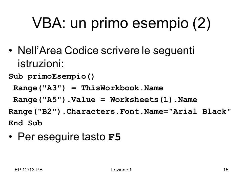 VBA: un primo esempio (2)