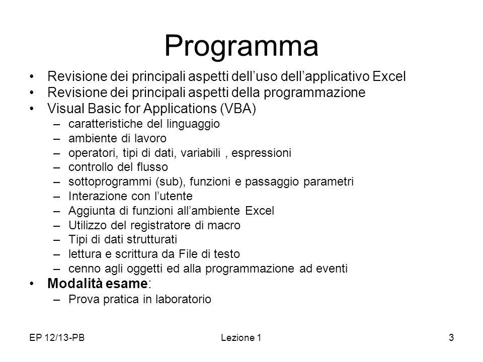 Programma Revisione dei principali aspetti dell'uso dell'applicativo Excel. Revisione dei principali aspetti della programmazione.