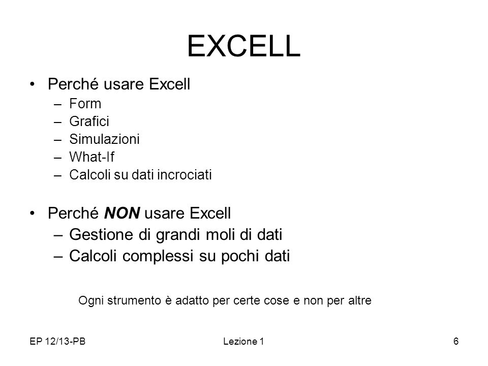 EXCELL Perché usare Excell Perché NON usare Excell