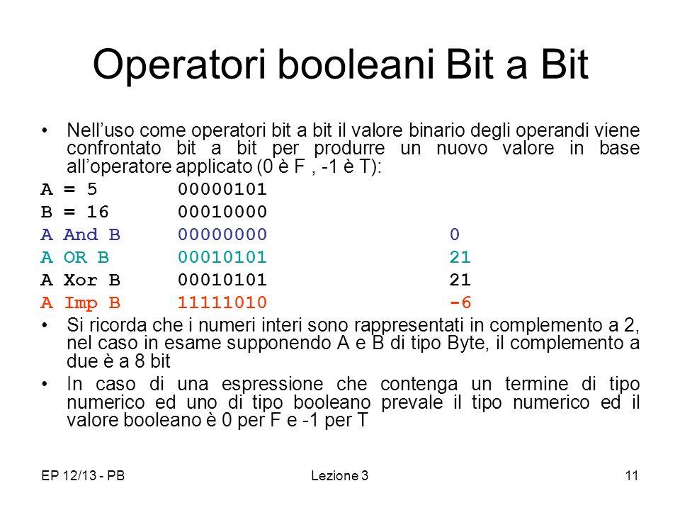 Operatori booleani Bit a Bit