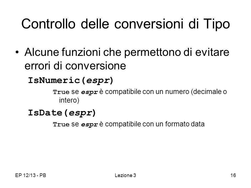 Controllo delle conversioni di Tipo