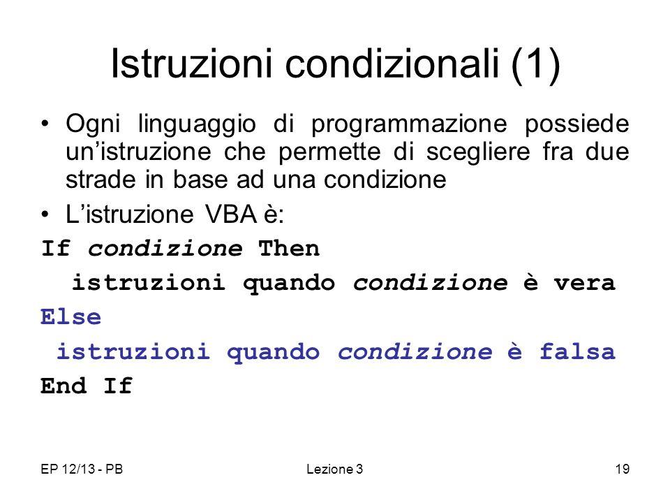 Istruzioni condizionali (1)