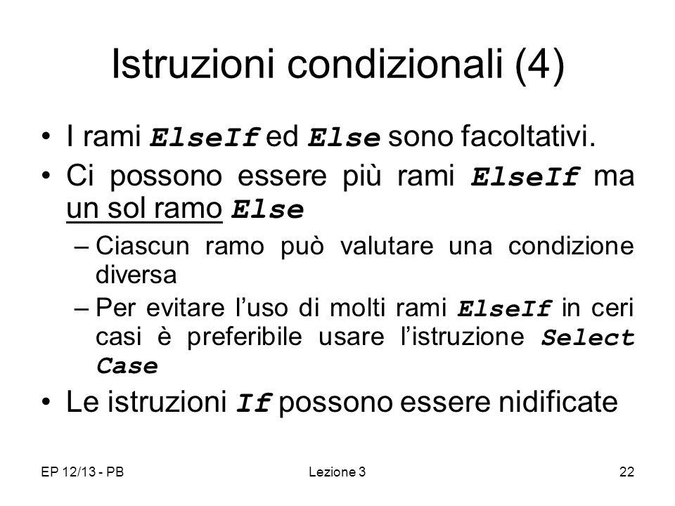Istruzioni condizionali (4)