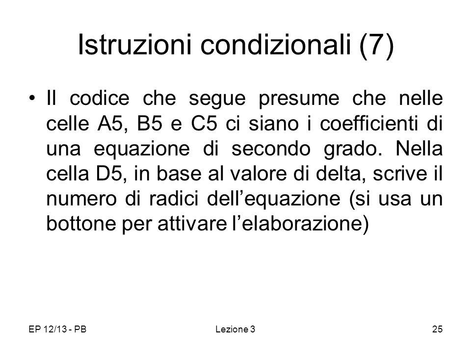 Istruzioni condizionali (7)