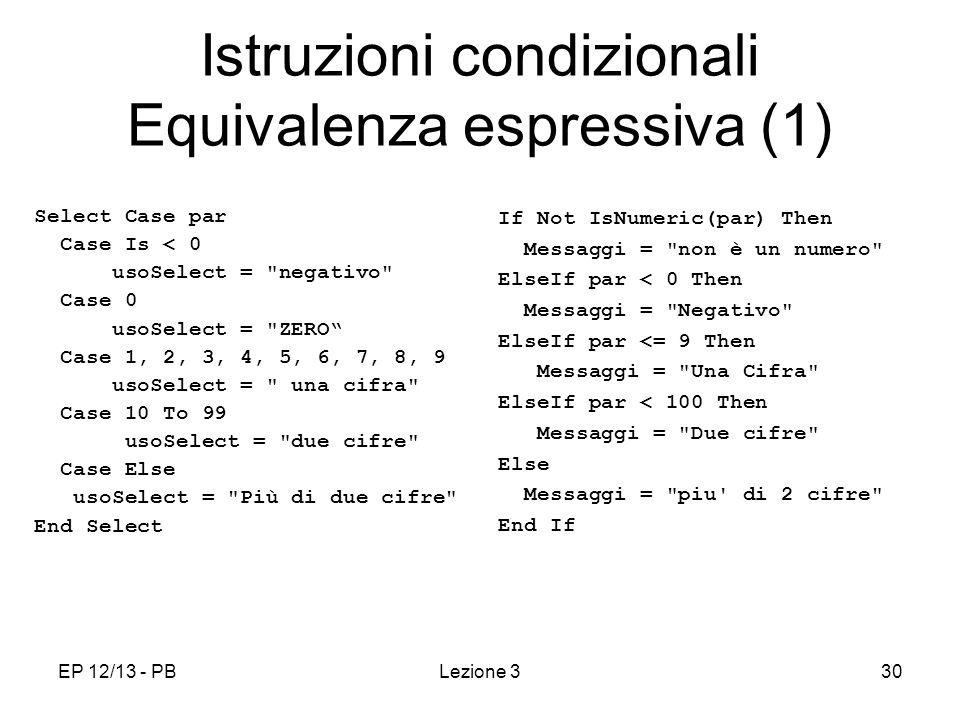 Istruzioni condizionali Equivalenza espressiva (1)