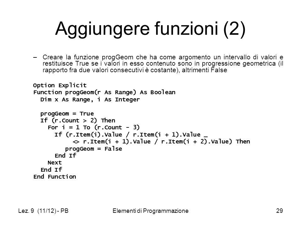 Aggiungere funzioni (2)