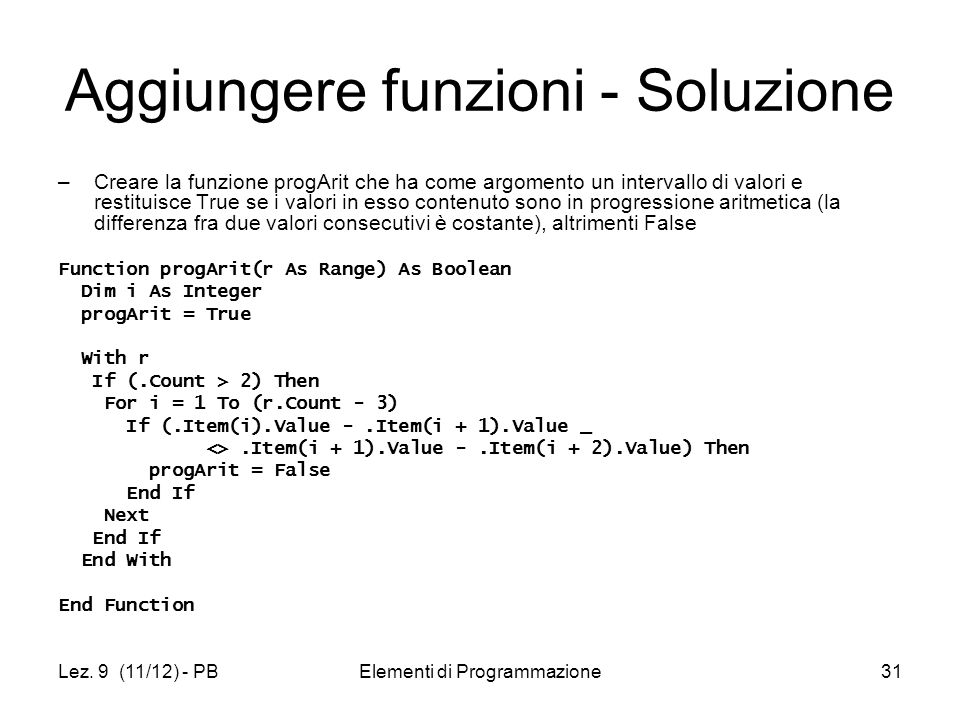Aggiungere funzioni - Soluzione