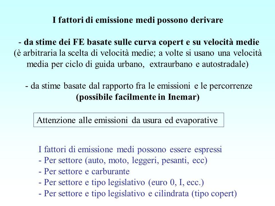 I fattori di emissione medi possono derivare - da stime dei FE basate sulle curva copert e su velocità medie (è arbitraria la scelta di velocità medie; a volte si usano una velocità media per ciclo di guida urbano, extraurbano e autostradale) - da stime basate dal rapporto fra le emissioni e le percorrenze (possibile facilmente in Inemar)
