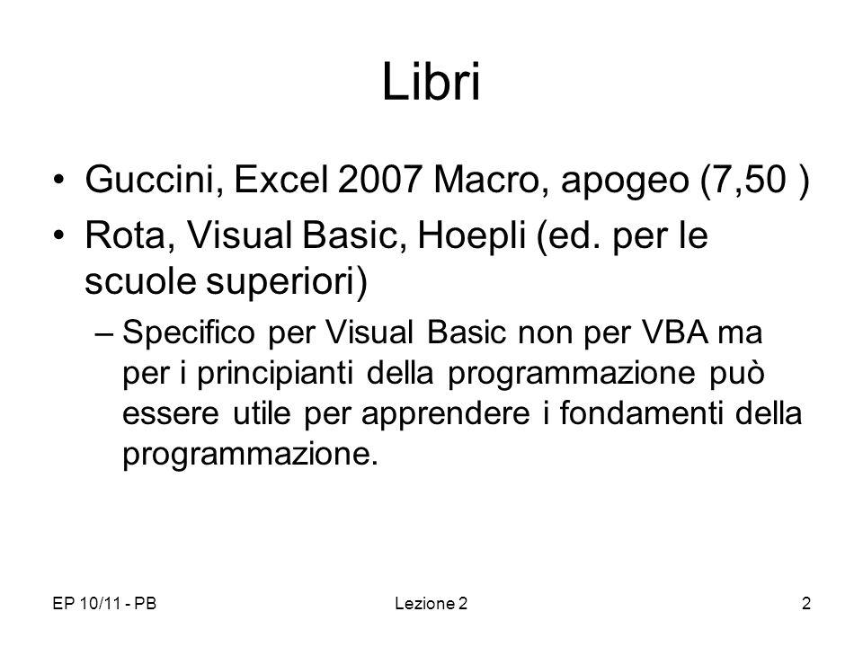 Libri Guccini, Excel 2007 Macro, apogeo (7,50 )