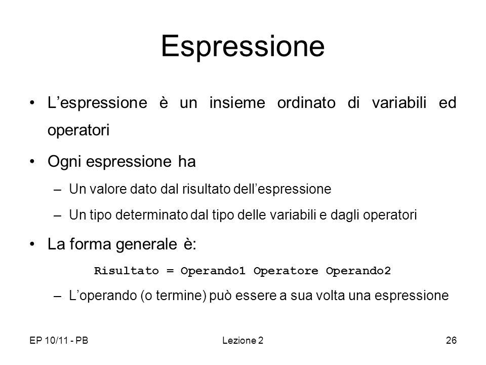 Risultato = Operando1 Operatore Operando2