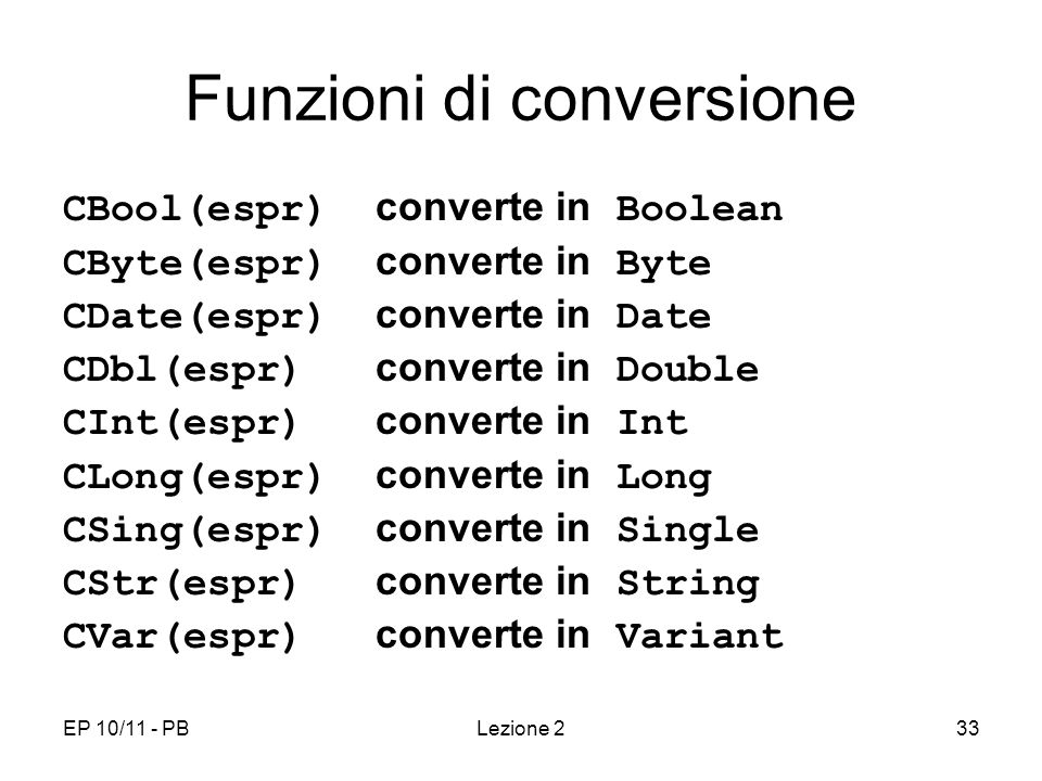 Funzioni di conversione